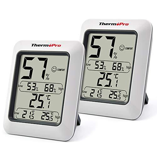 ThermoPro TP50 digitales Thermo-Hygrometer Innen Thermometer Hygrometer Temperatur und Luftfeuchtigkeitsmesser Klima Monitor 2er Set für Raumklimakontrolle Raumluftüerwachtung