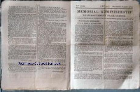 MEMORIAL ADMINISTRATIF DU DEPARTEMENT DE LA CREUSE [No 29] du 18/07/1812 - NOUVELLES GENERALES - LA GRANDE ARMEE - M. LEOMYNE - AVOUE - LES SCIENCES ET LES ARTS - JURISPRUDENCE DE LA COUR DE CASSATION - PARTIE CRIMINELLE - ANNONCES - FONDS DE COMMERCE A VENDRE A BOURGES - CHARLES GAMBON - M. DISSANDES-LAVILLATTE.