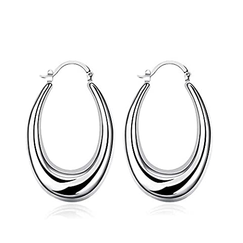 Bodya Paire Plaqué argent U en forme d'ovale Boucles d'oreilles créoles pour femme aplatie Top 47mm