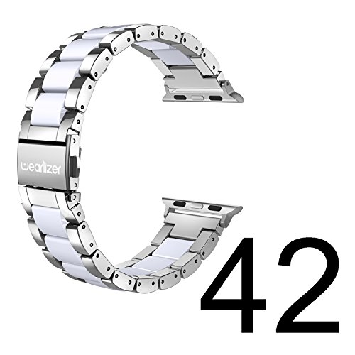 Wearlizer für Apple Watch Armband 42mm 44mm, Edelstahl Metall Harz iWatch Straps Ersatzband Uhrenarmband Wristband für iWatch Serie 5 Serie 4 Serie 3 2 1 - Silber