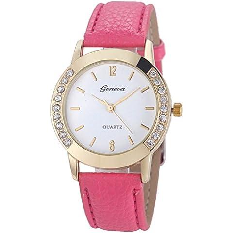 Relojes Pulsera Mujer,Xinan Cuero del Diamante Analógico Relojes de Cuarzo (Rosa)