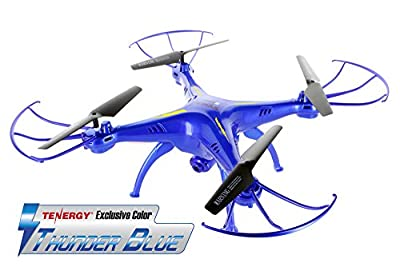 Syma X5SW Explorers2 2.4G 4CH 6-Axis Gyro RC Headless Quadcopter with 2MP HD Wifi Camera (FPV) - Tenergy Thunder Blue Deluxe Package with additional accessories by Tenergy