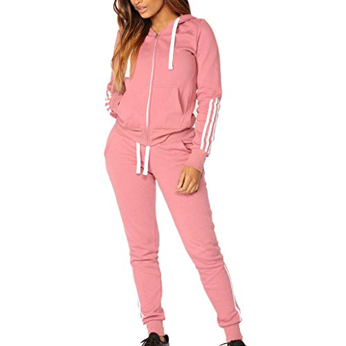 Damen Sportanzüge Jogging Anzug Trainingsanzug Mode Streifen Zipper Langarm Kapuzenpullover Hoodie Sweatshirt + Lange Hose Sportswear 2 Set (M, Rosa) (2-knopf-seersucker-anzug)
