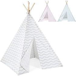boppi Grande Tente de Jeu tipi en Toile Tente Indienne Portable en Bois pour Enfants, pour intérieur comme extérieur, pour Filles et garçons - Gris