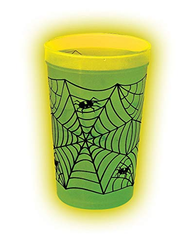 Horror-Shop Leuchtender Halloween Spinnen Becher | 1 L | 17,5 cm (Spider Licht Web-schwarz Halloween)