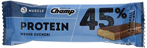 Champ Muscle 45% Protein Bar, Karamell, 24 x 45 g (Protein 45g)