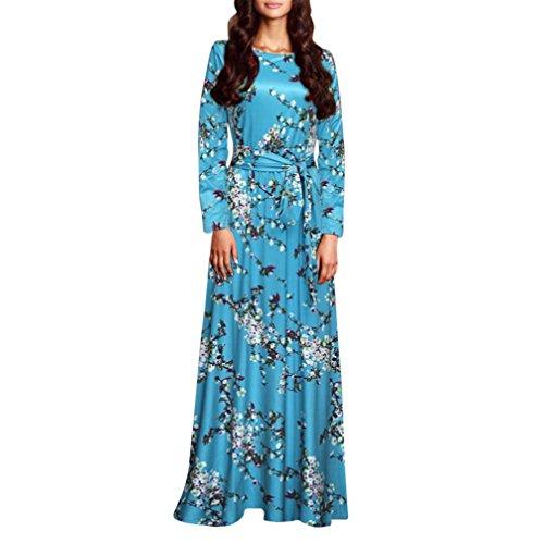 feiXIANG Frauen Sommer lange kleider Print langen Abend Party Rock Cocktail Kleid Strandkleid Blumendruck Abendmode Langärmeliges Abendkleider Casual O-Ausschnitt Kleid für Damen (L, Blue) (Anzug Rock Blue)