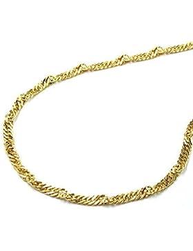 Latotsa 14 Karat 585 Gelbgold Gold Singapurkette Singapur Kette Halskette Goldkette Schmuck Collier 45cm