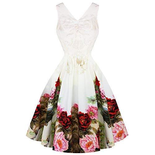 Hearts & Roses London Englische Rose Weißes Blumenmuster Vintage Retro 1950s Jahre Ausgestellt...