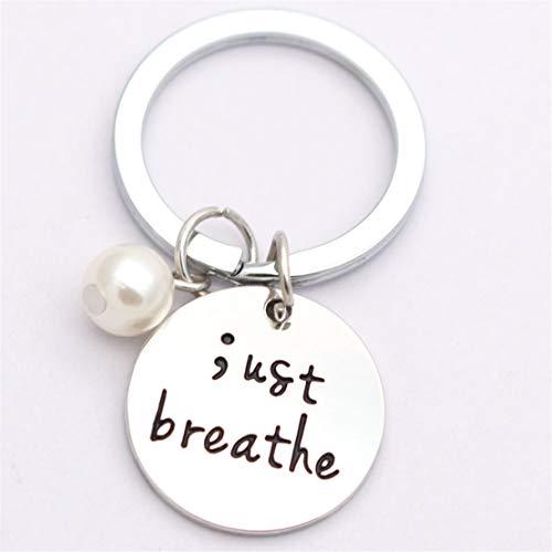 Kissherely Atmen Sie Einfach Gravierte Halskette Semikolon Schmuck Geschenke Prävention Depression Charme Zubehör (Schlüsselanhänger)