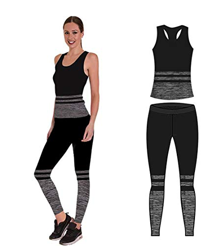 Unbekannt Bonjour Damen Sportswear Wear/Weste und Crop Top & Leggings (2 Stück), Stretch-Fit, Yoga Gym Wear Set, Black Stripe Vest Top, One Size (UK 8-14) -