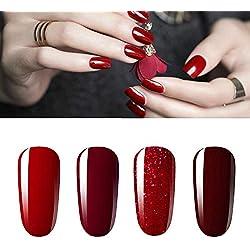 Vishine Lot de 4 Vernis à Ongles Gel Semi Permanent Rouge paillette Bordeaux Soak Off UV LED Gel Nail Polish Nail Art Classique Collection