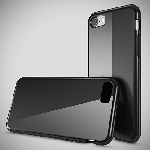iPhone 8 / 7 Hülle Handyhülle von NICA, Ultra-Slim Silikon Case Cover, Dünne Crystal Schutzhülle, Etui Handy-Tasche Back-Cover Bumper, TPU Gummihülle für Apple i-Phone 7 / 8 Phone - Transparent Weiß Schwarz