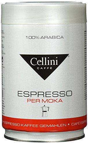 Cellini Premium Espresso, 100% Arabica, Mokamahlung, Dose mit Deckel, 1er Pack (1 x 250 g)