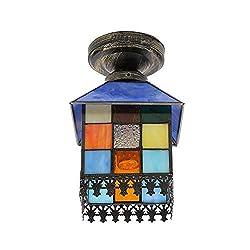 LED Deckenlampe, Einfaches Tiffany-Stil Kleines Haus Deckenleuchten, Retro Quadratische Glasmalerei Lampshade Leuchter Für Wohnzimmer Schlafzimmer Küche Insel Beleuchtung