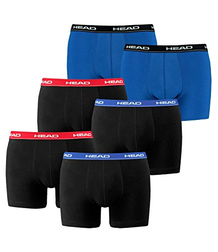 HEAD Basic Boxershorts - 6er Pack 2x2er Rot/Blau / 1x2er Blau/Schwarz