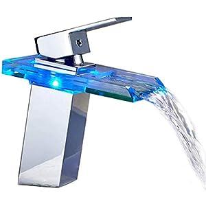 Auralum Grifo de Lavabo Baño Cascada con LED Grifo Baño de Latón y Vidrio para Lavabo Mezclador de Lavabo Monomando…