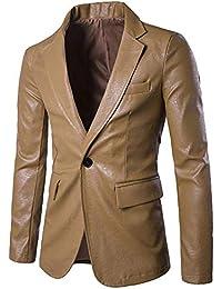 Giacche Eleganti da Uomo in Pelle Blazer Giacche da Uomo Classiche Slim Fit  Giacca da Uomo di Moda Maschile 1… d040e4f870a