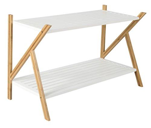 Zapatero de bambú con 2estantes para el pasillo–Ideal de madera estantería para zapatos de 2en marrón/blanco–33x 70x 45