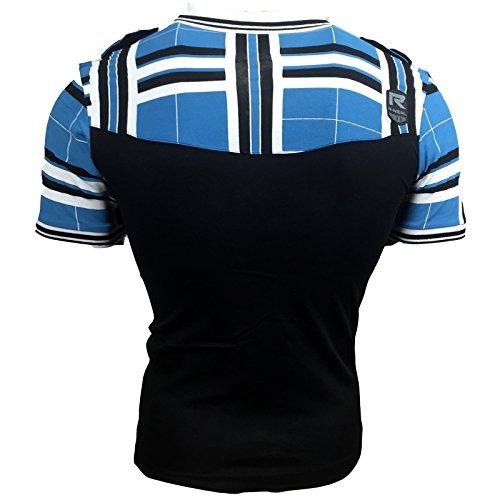 Polo T Shirt Herren Männer Poloshirt Jungs Gestreift Karriert A15008RN Schwarz