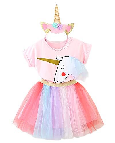 NNJXD Mädchen Einhorn Halloween Weihnachten Cosplay verkleiden sich Geburtstag Party Phantasie Blume Prinzessin Rainbow Dress + Einhorn Headwear Größe (110) 3-4 Jahre ()