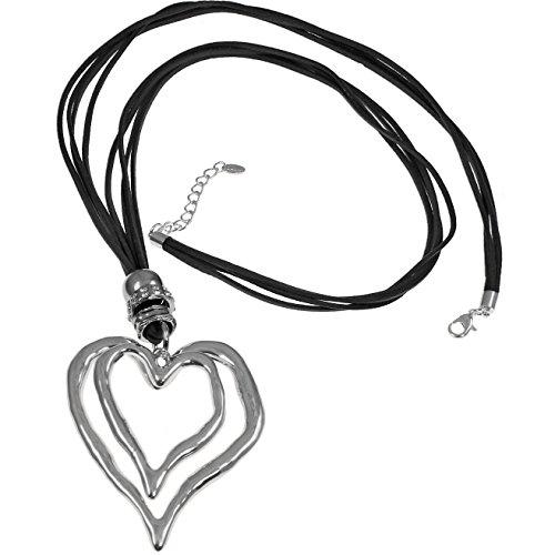 Lagenlook großer Herz-Anhänger, Silber / Zirkonia, schwarzes Wildleder, Modeschmuck, mit Halskette