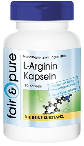 L-Arginin 4500mg Tagesverzehr, vegan, ohne Magnesiumstearat, 180 L-Arginin-Kapseln