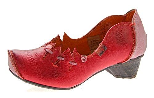 TMA Damen Ballerinas Echt Leder Pumps Comfort Leder Schuhe Slipper TMA 8787 Gr. 36-42 Rot