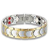 Dightyoho Pulsera Magnética, Cierres pulseras iman, Brazalete Terapéutico para Artrosis Perder Peso Aliviar Dolor, Plata y Oro