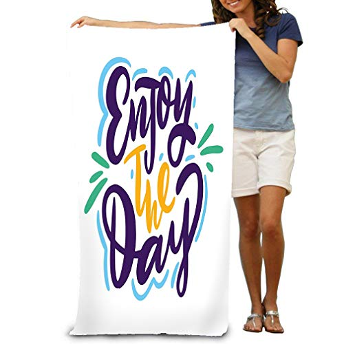 Xunulyn Premium Quality Beach Towels - Pool Towels (31 X 51 in) Enjoy Day Hand Drawn Lettering Phrase Isolated whi