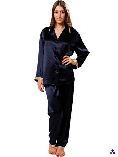 ElleSilk Seide Schlafanzug Damen mit Hosen, Damen Nachtwäsche aus 100% Reine Maulbeerseide, Hypoallergen, Navyblau/Cappuccino, XS (Frauen Weiße Seide Hose)