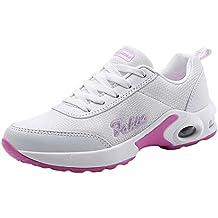 2019 hombre zapatillas de deporte blancas chico mujer deportivas ... ❤ Zapato Deportivo Mujer con Cordones, Antideslizante y Plataforma de Malla de Ocio ...