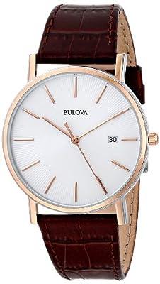 Bulova Men's Designer Watch Leather Strap - Brown Rose Gold Classic Dress Wrist Watch 98H51