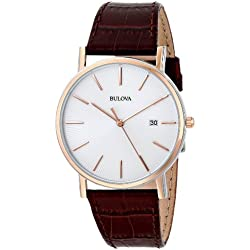 Bulova Classic 98H51 - Reloj de Pulsera de Diseño Elegante para Hombre - Correa de Cuero - Color Oro Rosa y Marrón