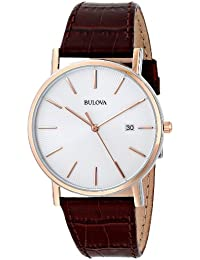amazon co uk bulova watches bulova men s designer watch leather strap brown rose gold classic dress wrist