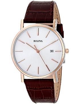 Bulova Classic 98H51 - Herren Designer-Armbanduhr - Armband aus Leder - Elegantes Design - Braun/Roségoldfarben