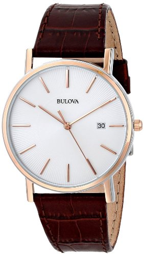 bulova-mens-designer-watch-leather-strap-brown-rose-gold-classic-dress-wrist-watch-98h51