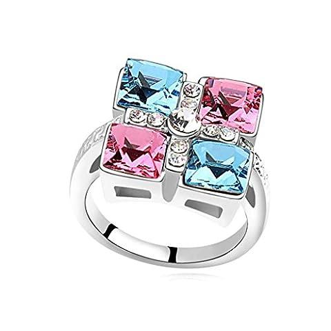 AMDXD Bijoux Plaqué Or Bagues de Fiançailles pour Femme Traverser Carré Bleu Rose Taille 56.5