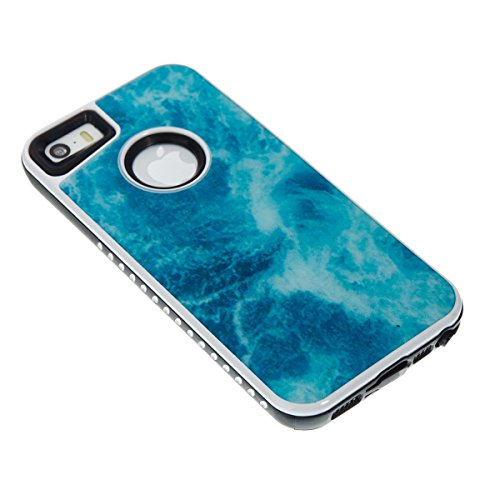 iPhone 5S Coque Coquille Silicone en Tpu Housse Etui iPhone SE Orange Romantique Élégant Beau Pierre Motif [Tpu+Pc]Ultra Mince Thin Transparent Flexible Doux Caoutchouc Couverture Etui de Protection L Blue