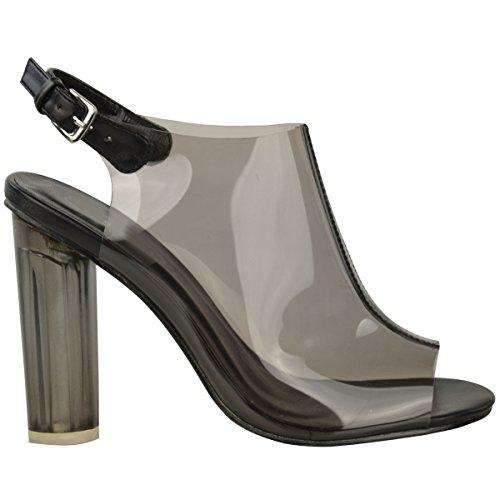 Nuovo Da Donna Perspex Trasparente Tacchi Alti Sandali Con Cinturino Festa Ballo Celebrità Misura In Vernice Nera / Fumè Perspex