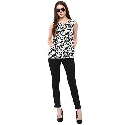 Veronique Women'S Black & White Printed Flare Top-White(Extra Large)