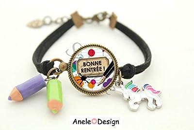 Bracelet Rentrée - Bonne Rentrée! cadeau école fille, crayons rose jaune, licorne, cabochon