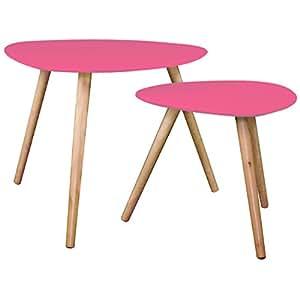 atmosphera tables basses gigognes set de 2 fushia pm h40x40x40cm gm h48x60x60cm. Black Bedroom Furniture Sets. Home Design Ideas