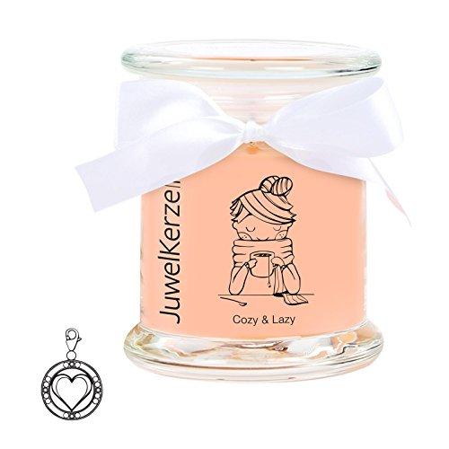 """JuwelKerze \""""Cozy & Lazy - Kerze im Glas mit Schmuck - Duftkerze mit Überraschung als Geschenk für Sie (Silber Charm, Brenndauer : 45-65 Stunden)"""