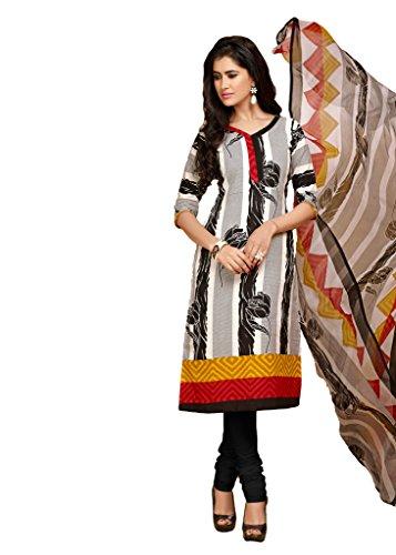 Black & White Colour Foux Cotton Casual Wear Floral Print Churidar Suit