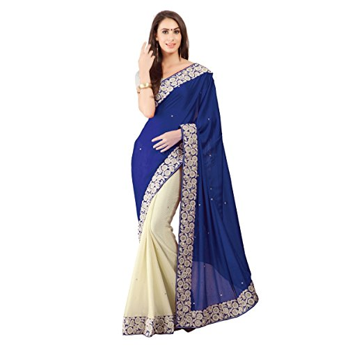Aagaman-Fashion-Faux-Georgette-Lycra-Sarees-TSSF9004HBlue