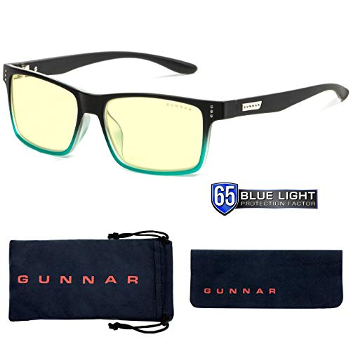 Gunnar Gaming and Computer Eyewear for Kids|Model: Cruz, Onyx-Teal frame| Blue Light Blocking Glasses | 35% Blue Light Protection, Block 100% UV Light, Reduce Eye Strain & Dryness