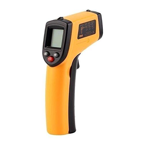 Termometro a infrarossi, igrometro, senza contatto, laser, da -50°c a 330°c, precisione alta, lettura istantanea, spegnimento automatico, schermo lcd retroilluminato, batteria non inclusa, giallo