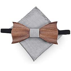 Noeud papillon Gentleman pour hommes Noeud papillon en bois pour femmes en bois 3D, bois fait à la main, assorti de boutons de manchette Noeud papillon, dîner de noces, accessoires d'affaires Noeud pa