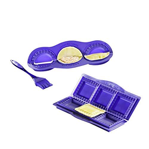3-tlg. Maultaschenformer SET - Kunststoff/Silikon, Blau, Ravioli Former rund und eckig inkl. Silikonpinsel, spülmaschinengeeignet